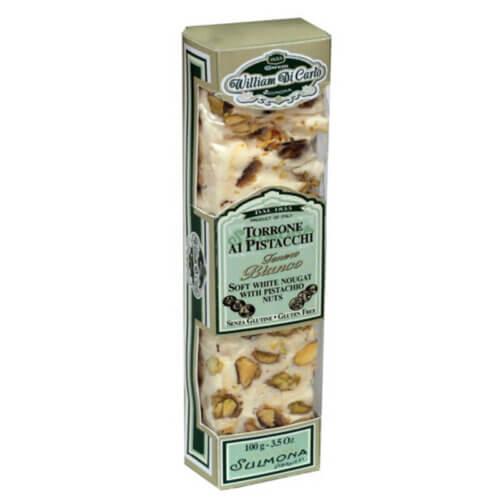 Torrone macio italiano com chocolate branco e pistache